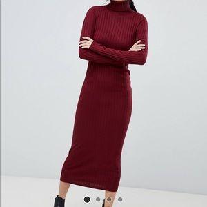 Berry knit midi dress